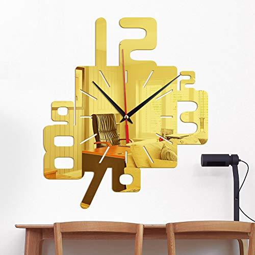 NANDY PERSONAL CARE Kreative Digitale Wanduhr Dekoration Wandaufkleber Wanduhr 3D Acryl Kreative Spiegel Wandaufkleber