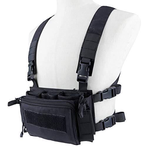 XUE Taktische Weste Recon Chest Rig für Herren Damen mit 5,56 9mm Magazine Taschen Tactical MOLLE Weste für Airsoft Paintball Armee Polizei Militär Jagd Kampf