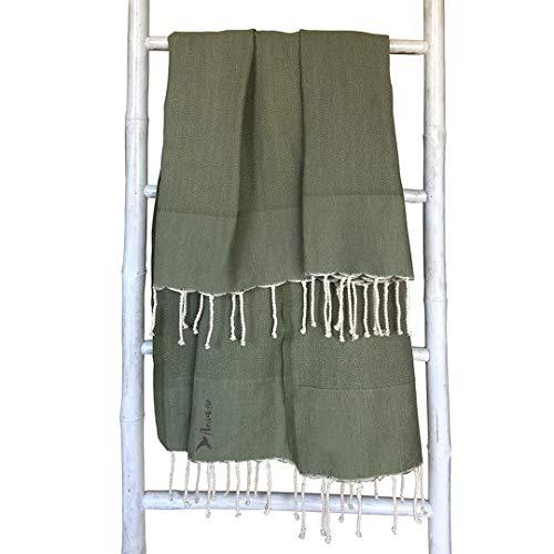 Amiaire Toalla de Playa Costa Oliva- Toalla 100% algodón - Tamaño 100 x 180 cm - Incluye Bolsa de Viaje - Secado rápido -...