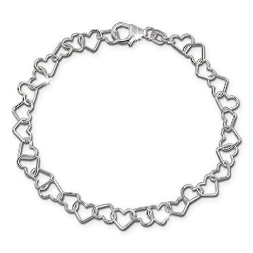 Pulsera de mujer de 19cm, corazones de plata de ley 925,joyería f