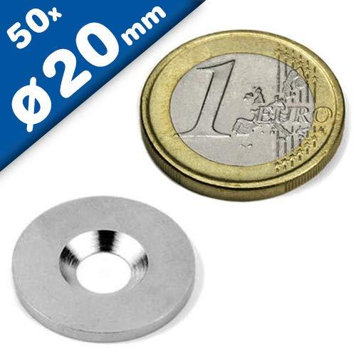 50 x Metallscheiben mit Bohrung und Senkung - Ø20mm x 2mm - aus Stahl (DC01) verzinkt - Metallplättchen rund mit Loch (Senkbohrung) - Gegenstück/Haftgrund für Magnete, Menge: 50 Stück