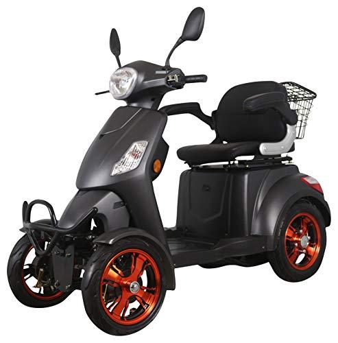 Scooter eléctrico de movilidad todo terreno extra estabilidad 4 ruedas motor 800 watt 25 km/h 60V 100AH incluye accesorios Negro mate Green Power
