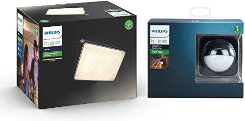 Philips Hue White Projecteur Extérieur WELCOME Aluminium Noir + Hue Détecteur de mouvement Extérieur Noir