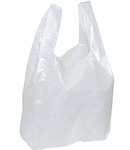 T060] 100 Stück 25+12x45cm Tüte Hemdchen Tragetaschen Plastik-Beutel Tüten weiß Einkaufstaschen für Imbiss Kiosk Laden Markt