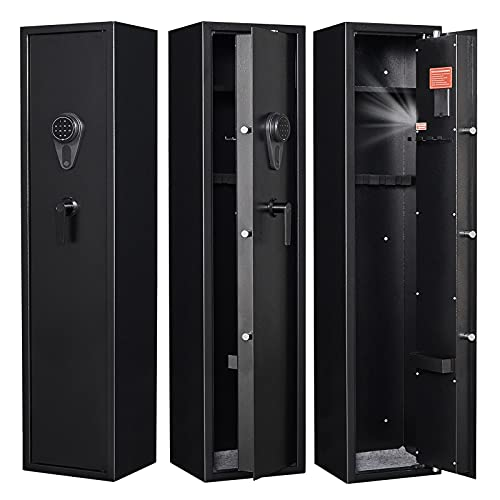 Large Rifle Safe, Gun Safe for Rifles and Shotguns Quick Access Electronic Gun Safe Cabinet for 3-5 Rifles for Home with Digital Keypad and Removable Storage Shelf (Keypad Lock 54.33''X11.8''X11'')