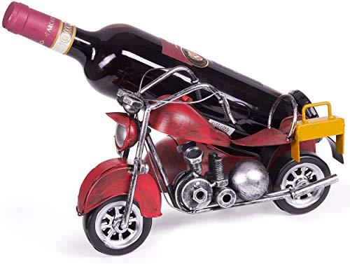 Brubaker Flaschenhalter Motorrad mit Beiwagen Rot - Vintage Weinflaschenhalter aus Metall Chopper - handbemalte Skulptur mit Geschenkkarte