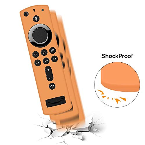 Remote Case/Cover for Fire TV Stick 4K, Protective Silicone Holder Lightweight [Anti Slip] ShockProof for Fire TV Cube/Fire TV(3rd Gen)Compatible with All-New 2nd Gen Alexa Voice Remote Control-Orange