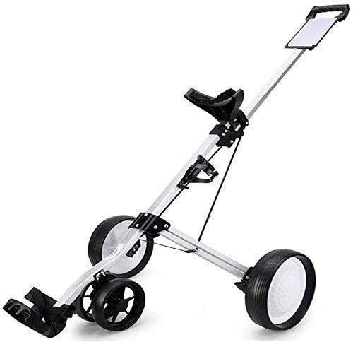 XBSLJ Golftrolley Zieh-Golfcarts Golf Push Cart, Faltbarer 4-Rad Golf Pull Cart mit Anzeigetafel, Getränkehalter, Fußbremse