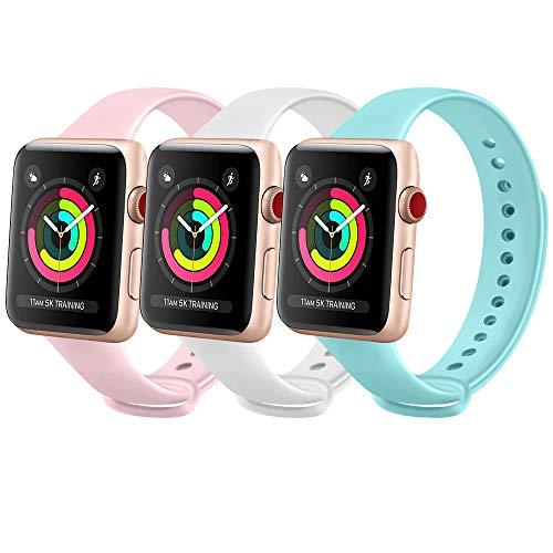 FUUI Correa Compatible con Apple Watch 38mm 42mm 40mm 44mm, Pulseras de Repuesto de Silicona Suave para iWatch Series 6 5 4 3 2 1, Mujer y Hombre(3 Pack)(38mm/40mm M/L, Azul Claro/Blanco/Rosa)