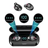 F9 Wireless LED Touch Bluetooth Earbuds and Portable Charger/Power Bank, 2000mAh, Bluetooth 5.0, Waterproof/Sweat-Proof, Automatically Start-up and Remove, Intelligent HD Call/Cinema HiFi Sound