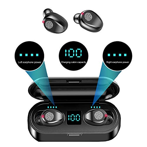 F9 Wireless LED Touch Bluetooth Earbuds and Portable Charger/Power Bank, Bluetooth 5.0, Waterprove/Sweat-Prove, Automatically Start-up and Remove, Intelligent HD Call/Cinema HiFi Sound