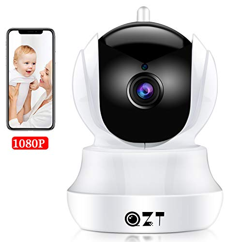 QZT Cámara IP HD, Cámara de Vigilancia WiFi Interior, Casa Seguridad Camara con Visión Nocturna, Detección Movimiento, Email Alarma, Inalámbrico Video Camera para Mascota Oficina Bebé Tienda (1080P)