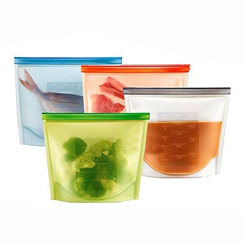 OFKPO 4pcs Silicona Reutilizable Alimentos Bolsa de Almacenamiento, Sellada Caja de Almacenaje con Ventilación y a Prueba de Fugas de Silicona