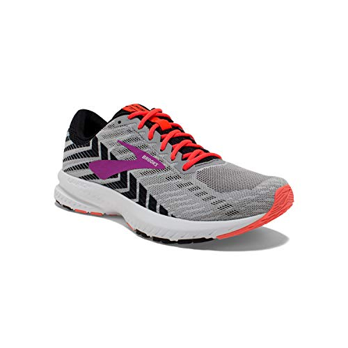 Brooks Womens Launch 6 Running Shoe - Grey/Black/Purple - D - 8.0