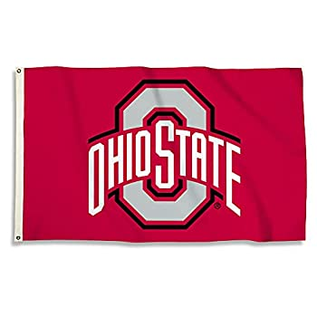 BSI PRODUCTS INC - Ohio State Buckeyes 3'x5' Flag with Heavy-Duty Brass Grommets - OSU Football Basketball & Baseball Pride - High Durability - Designed for Indoor or Outdoor Use - Great Gift Idea