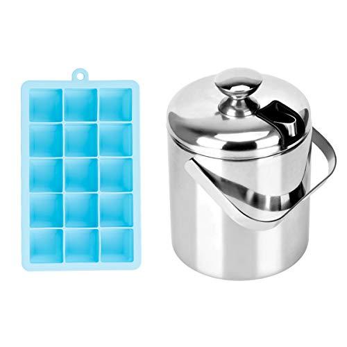 Queta Eisform und eiswürfelbehälter mit Deckel,Eine himmelblaue 15-Box-Eisbox sowie EIN Eiskübel mit Langzeitwärmeisolierung aus Edelstahl mit Eiswürfelklammern.