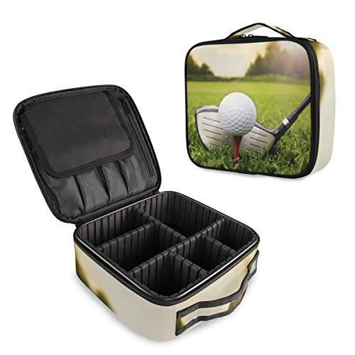 LZXO Professionelle Make-up-Tasche für Sport, Golfclub, Ball, Bedruckt, Reise-Kosmetiktasche, Organizer, Kulturbeutel, Make-up-Aufbewahrungstasche mit verstellbaren Trennwänden für Frauen und Mädchen