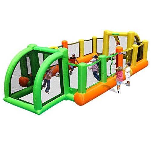 Hüpfburgen Home Kinder Aufblasbaren Spielplatz Indoor-Trampolin Outdoor Junge Mädchen Fußballplatz Spiel Zaun (Color : Green, Size : 335 * 800 * 180cm)