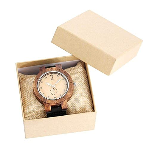 HYLX Reloj de Madera Reloj Creativo de Madera de Cuarzo con Pantalla de Segundos pequeños para Hombres Reloj de Madera de Cebra Retro de Cuero Negro Reloj Informal para Hombre