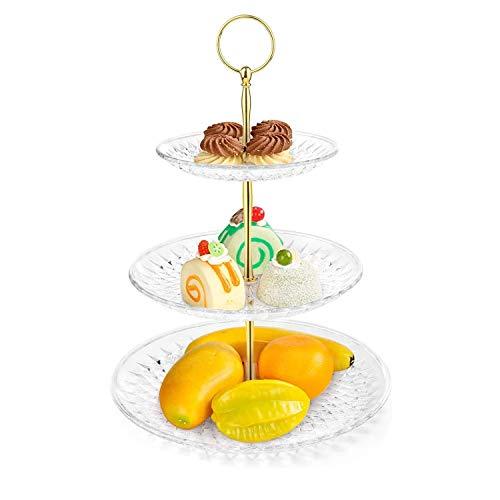 WolinTek Bandejas para Tartas, Estables Soporte de la Torta en 3 Niveles, Puesto de Servicio, Fruta de Soporte Buffet para Cupcakes Food Dessert al Pomeriggio Tea Party Bodas (3-Tier)