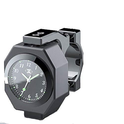 YONGYAO 22-28Mm Motorrad-Uhr + Thermometer Leuchtend Wasserdichter Lenker Halterung-Schwarz