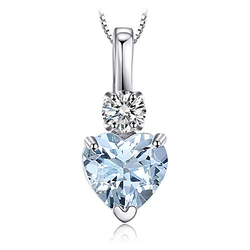 necklace Ladies fashion Heart Love White Topaz natural sapphire pendant sterling silver 18 inches Hoisting