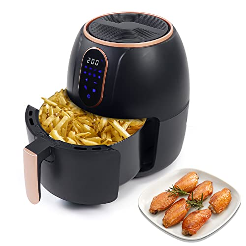 Air Fryer Multifunctional Electric Hot Oven Family Size Digital Air Fryer LCD Touch Screen Nonstick Detachable Basket Temperature Control Oil-Free 8 Presets 4 Liter 1500W