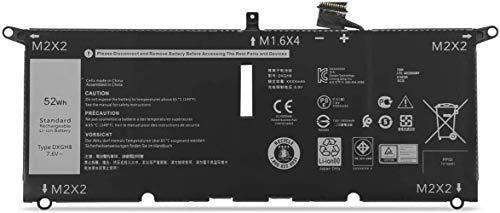 AKKEE DXGH8 Laptop Batería para DELL XPS 13 9370 9380 Inspiron 13 7390 7391 2-in-1 5390 5391 7490 Series H754V 0H754V G8VCF P82G 7.6V 52Wh 6500mAh 4-Cell