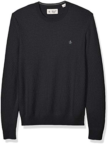 Original Penguin Men's Long Sleeve Crew Neck Waffle, Dark Charcoal heather as, L