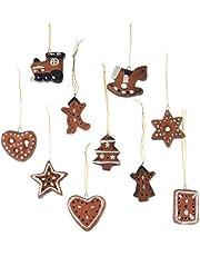 Kerstboomversiering terracotta peperkoeken 10-delige set