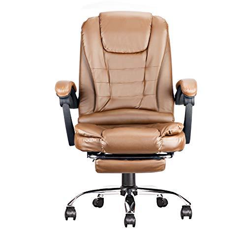 Leder Bürostuhl, Gaming Stuhl, Computer Stuhl, hohe Rückenlehne, einstellbare Höhe und Winkel. (Braun)