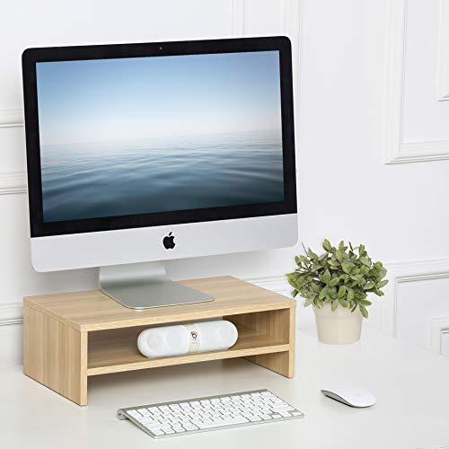 con medidas de 50/x 18/x 12/cm Base elevadora de madera de 2 niveles para monitor de ordenador o TV