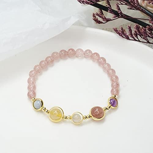 FIISH Pulseras de Cuentas de Granate de Cuarzo de Fresa de Cristal Rosa Natural...