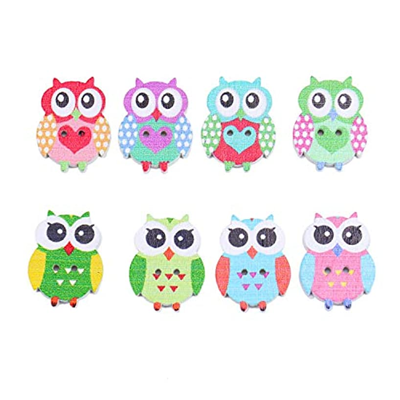 Monrocco 100 Pcs Cartoon Animal Wood Owl Buttons 2 Holes Decorative Wood Crafts Buttons for Crafts Sewing