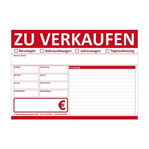 KFZ Auto Verkauffschilder DIN A4 beidseitig Bedruckt (Rot, 50 Stück)