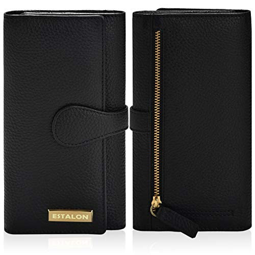 Wallets for Women - RFID Blocking Leather Checkbook Wallet with 11 Card Slots