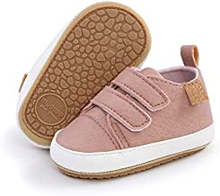 ENERCAKE Baby Boys Girls Shoes Non Slip Rubber Sole Walking Sneakers Infant Toddler First Walkers Tennis Crib Shoes(6-12 Months Infant, I-Pink)