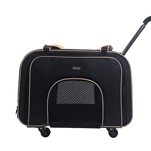 Hadishi Abnehmbare Pet Trolley Hund aus Trolley Mute Wheel Katze Hund tragbaren Koffer,Schwarz