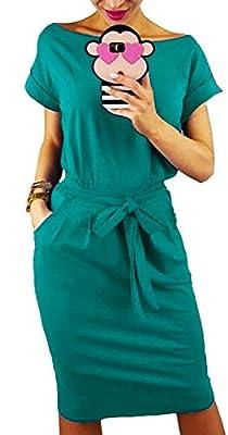Longwu Women's Elegant Long Sleeve Lantern Sleeve Wear to Work Casual Pencil Dress with Belt