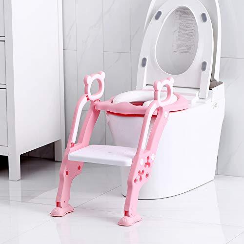 Toilettentensitz kinder, LADUO Kinder Toiletten-Trainingssitz mit rutschfester Trittleiter-Leiter, justierbarer, für Kleinkinder,und Jungen, Mädchen (Rosa)