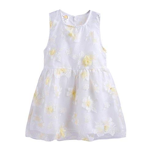 Mud Kingdom Cute Little Girl Dress Flower 3D Cute Yellow Size 6