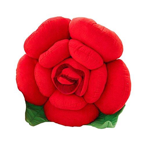 Coussin de soutien en forme de cône de dentelle, dessin animé mignon fleur rose salon canapé coussin arrière siège de voiture coussin de coussin créatif chevet (rouge)