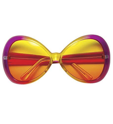 shoperama 70er Jahre Sugar Babe Hippie Sonnenbrille für Damen Pink/Gelb Brille XXL-Shades groß Flower Power Beachparty