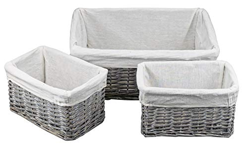 Yesland Handmade Wicker Storage Baskets Set - Woven Storage Shelf Organizer Nesting Baskets for Pantry Living Room Office Bedroom Bathroom Shelves(Set of 3)