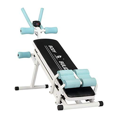 Yuany Sit Up Bench Trainer Dominal Crunch/Cardio Dominal und Back Trainer/Ganzkörpertrainingsgerät Waist Cruncher Core/Fitnesstrainer mit 3 Schwierigkeitsstufen, mit LCD-Monitor, Weiß