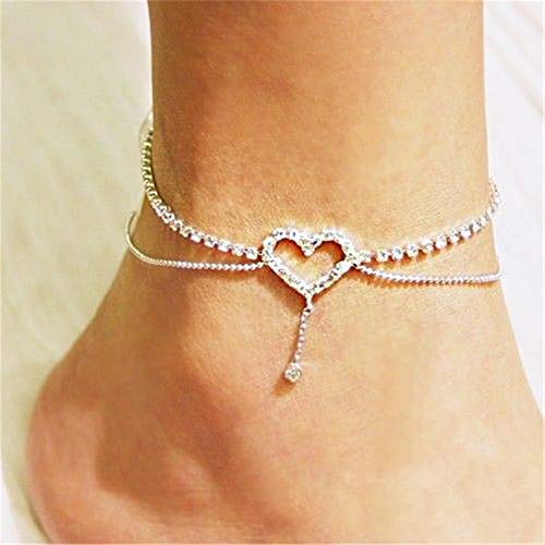 Ellepigy Women Stylish Simple Crystal Dangle Anklet Girl Charm Rhinestone Ankle Bracelet Foot Chain (Heart)