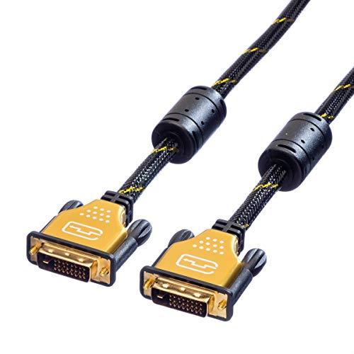 ROLINE GOLD DVI Kabel I Monitorkabel St - St I Dual Link Anschluss-Kabel schwarz I 7,5 m