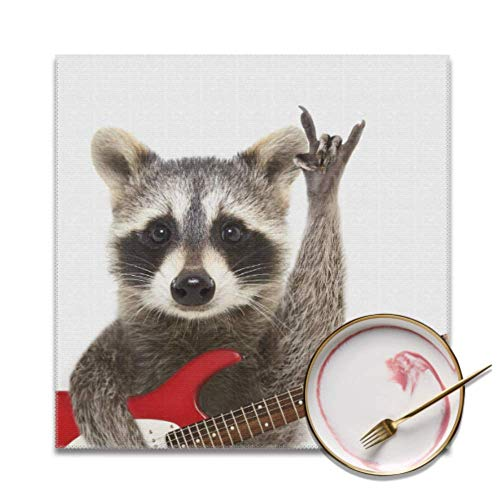 Set of 4 Placemat Set Portrait Funny Raccoon Electric Guitar Showing Place Mats for Dining Table Stain Resistant Washable Dining Table Mat for Indoor Or Outdoor Hotel Family Banquet Place Mats