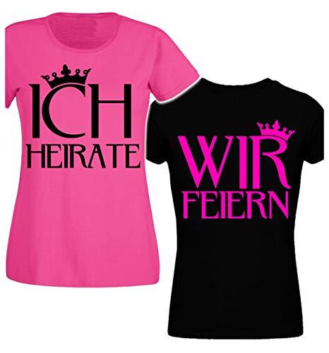 Junggesellinnenabschied Frau/Damen/Girlie T-Shirt - Braut- Security der Braut JGA Tshirt Junggesellenabschied (Pink/Ich Heirate - Schwarz/Wir Feiern) (L, Schwarz/Wir Feiern)
