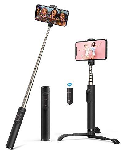 BlitzWolf Bluetooth Selfie Stick Stativ, Aluminium All-in-one Selfie-Stange Stab mit Bluetooth Fernbedienung für iPhone XS/Xs Max/XR/X/8/8P/7/7P/6S/6/5, Galaxy S10/9/8/7/6, Huawei, Mehr